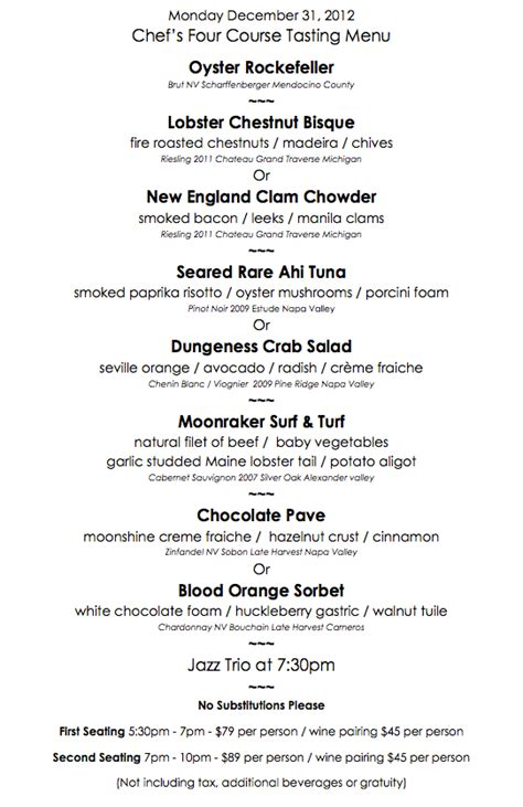 new year restaurant menu new year s menu moonraker pacifica