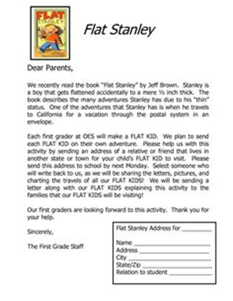 Parent Letter Host Family Sle Flat Stanley Template Flat Stanley Letter To Parents Host Letter Host Directions My