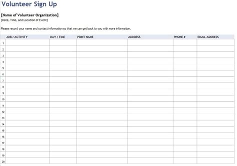 volunteer sign up sheet templates 9 free sample volunteer sign up sheet templates