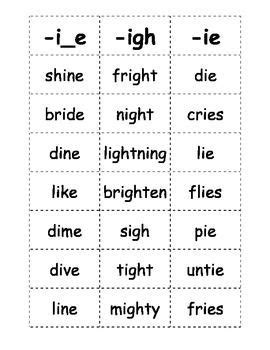 igh pattern words here is a list of words with the long i sound that kids