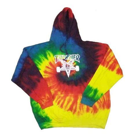 sweater tye dye hoodie rainbow thrasher skater