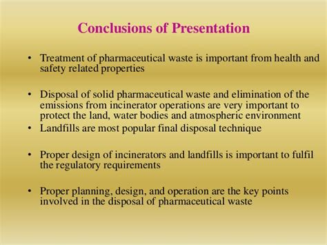 design criteria for incineration pharmaceutical waste treatment and disposal practices