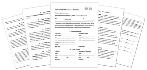 photography contract template free sample for wedding portrait