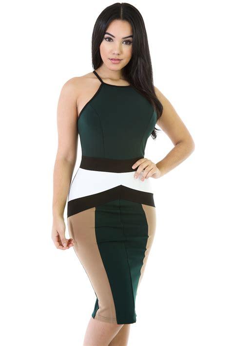 Dress Spandek Tri tri color bodycon dress green color