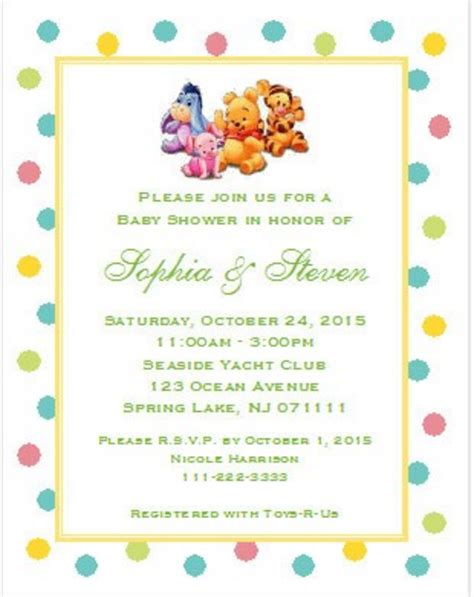 baby winnie the pooh friends winnie the pooh and friends baby shower invitations 5x7