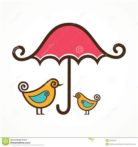 2d Kitchen Design couple of cute birds under pink umbrella royalty free