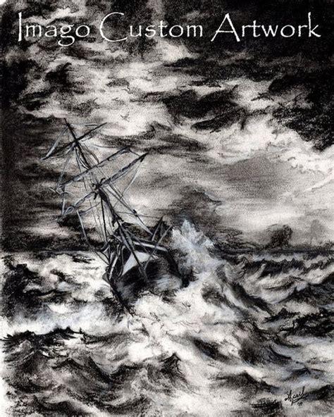 boat crashing drawing fine art print charcoal drawing sea ocean storm