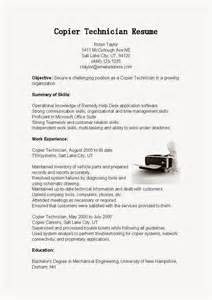 resume sles copier technician resume sle