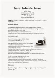 Copier Technician Sle Resume by Resume Sles Copier Technician Resume Sle