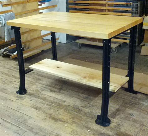 Custom Butcher Block Desk With Black Metal Legs And