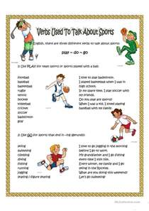 verbs used to talk about sport worksheet free esl