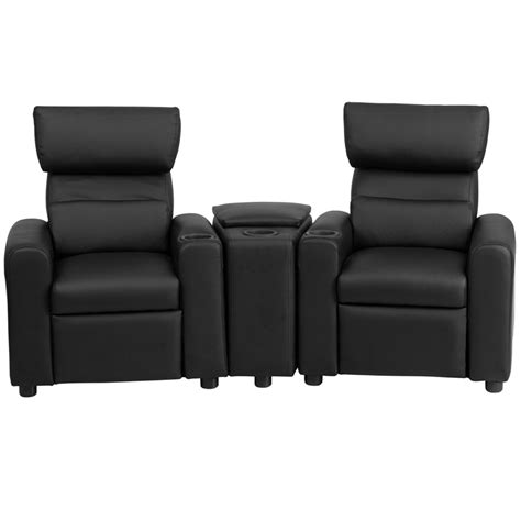 reclining theater seats kid s black leather reclining theater seating with storage