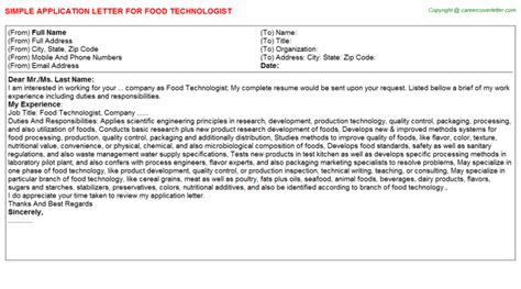 application letter of technologist food technologist application letter application letters