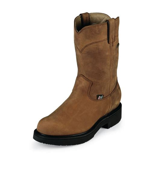 justin double comfort boots justin original double comfort 6604 mens aged bark gore