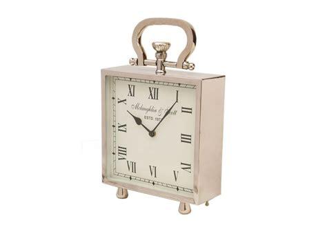 Small Silver Desk Clock Shiny Silver Square Clock Silver Desk Clock