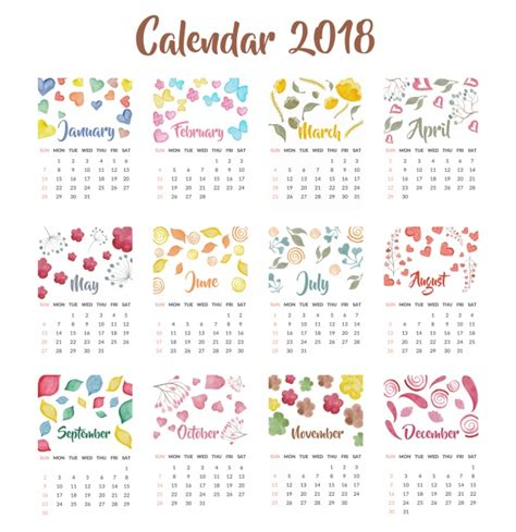 Calendar 2018 Illustrator Calendar 2018 Watercolor Design Vector Free