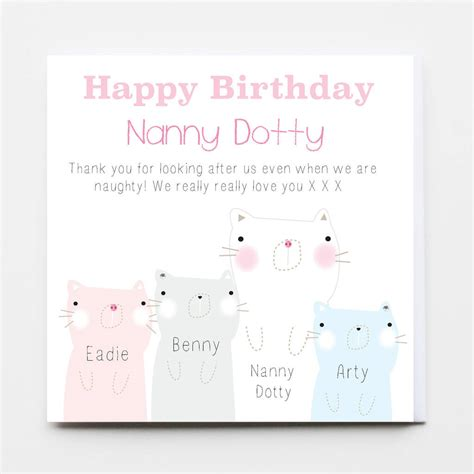 printable birthday cards nanny happy birthday nanny greeting card by buttongirl designs