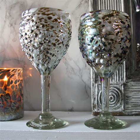 Handmade Wine Glasses Uk - el dorado rustic finish blown wine glass la galeria