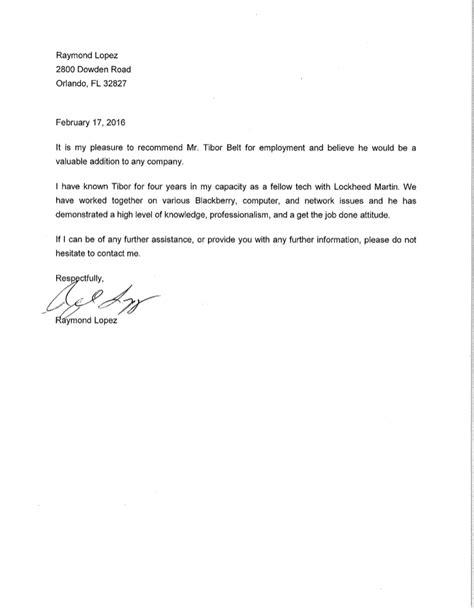 letter recommendation coworker