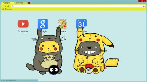 theme chrome totoro totoro x pikachu chrome theme themebeta