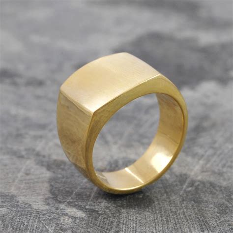 s square signet 18 k gold plated silver ring by otis