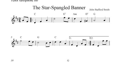 printable music banner free tenor saxophone sheet music the star spangled banner