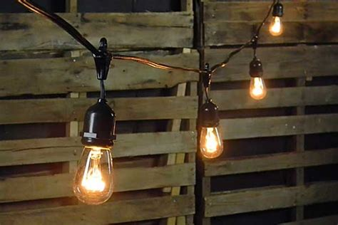 Edison Drop String Lights 100 Foot Black Wire Clear Commercial Patio Lights