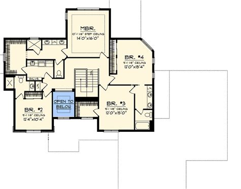 second floor plans home 4 bedroom home plan with upstairs laundry 89833ah