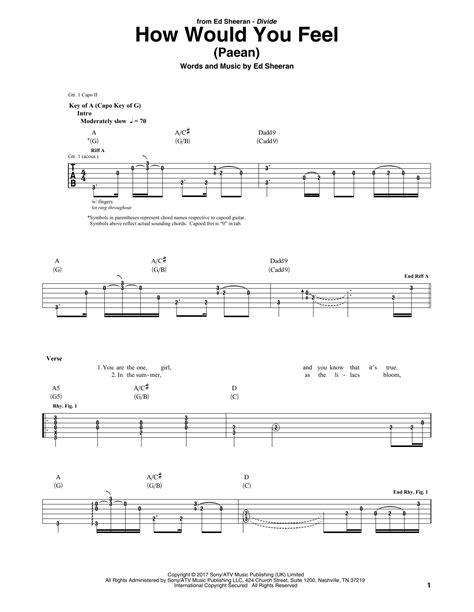 Ed Sheeran How Would You Feel Chords | how would you feel paean guitar tab by ed sheeran