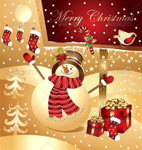 christmas illustration  happy snowman  marinamik graphicriver