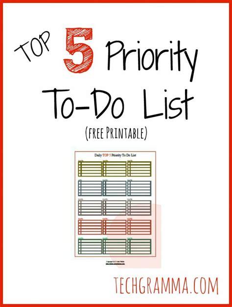 printable priority to do list top 5 priority to do list free printable tech gramma