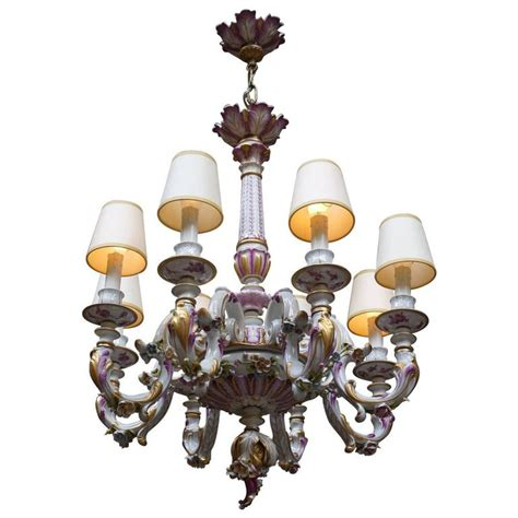 Capodimonte Chandelier Capodimonte Italian Porcelain Eight Light Chandelier For
