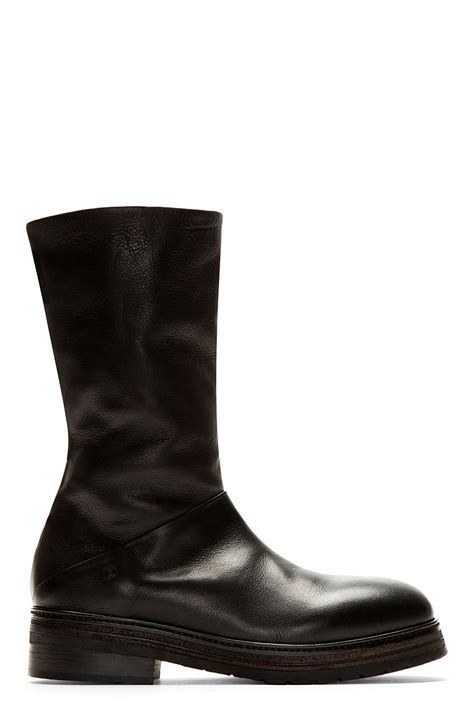 marsll black leather zucchino zip up boots