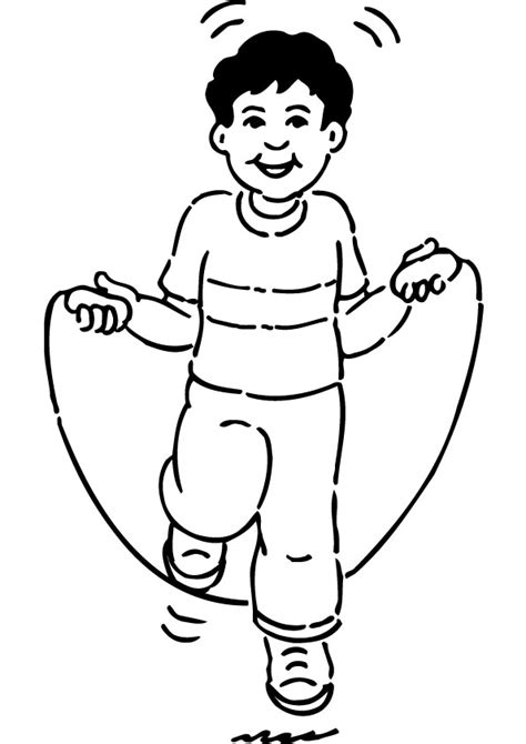 boy jumping coloring page free boy jumping rope coloring page