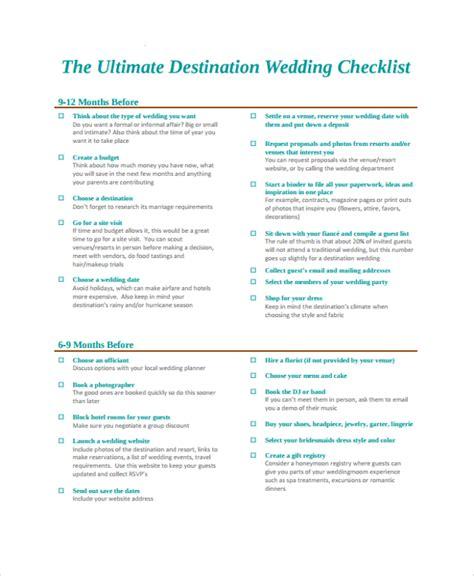 Wedding Weekend Checklist by Destination Wedding Honeymoon Template Free