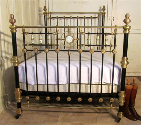 antique brass beds victorian brass and iron double bed mother of pearl inlay antiques atlas