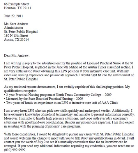LPN Cover Letter Examples   Printable Job Application