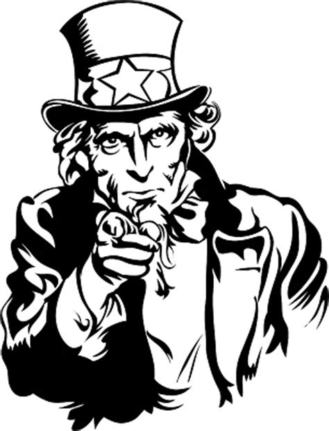 uncle sam i want you coloring page uncle sam black and white clipart clipart suggest