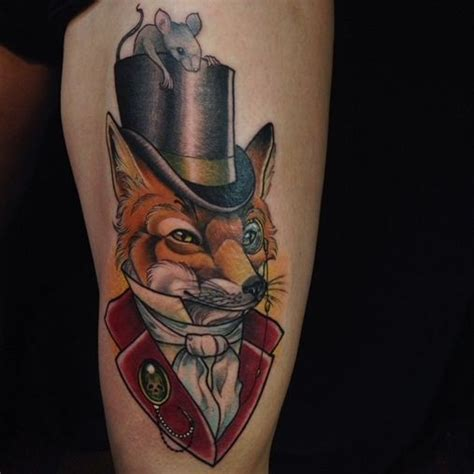 fox top hat tattoo by eilo martin gentleman foxies