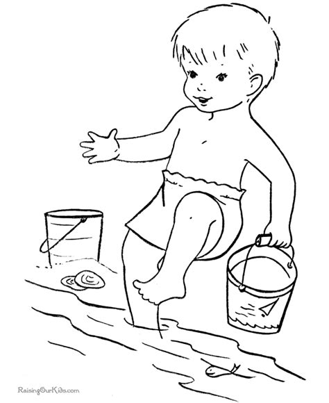 Children Embroider Beach Coloring Books sketch template