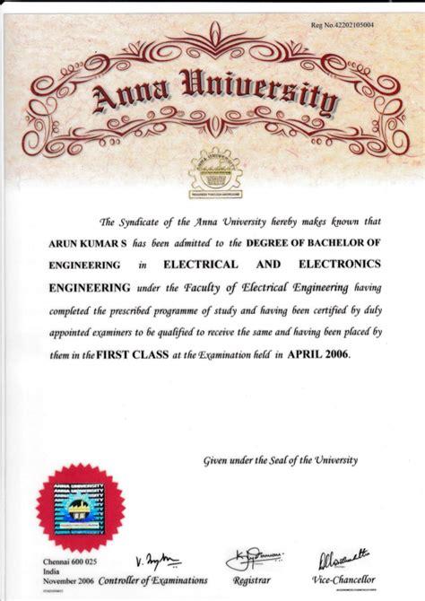 Pre Mba Graduate Certificate by Mg B Tech Degree Certificate