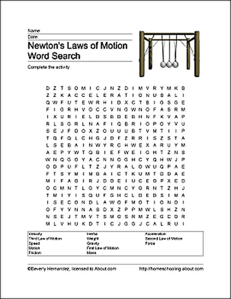 Laws Search Ways To Learn About Newton S Laws Of Motion Word Search Worksheets And Newtons Laws
