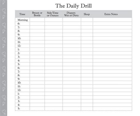 baby log book template printable feeding form day in the daily log