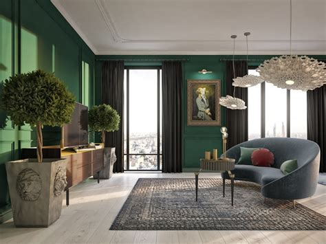Green And Black Interior Design by Gorgeous Classical Style Interior With A Note Of Modern