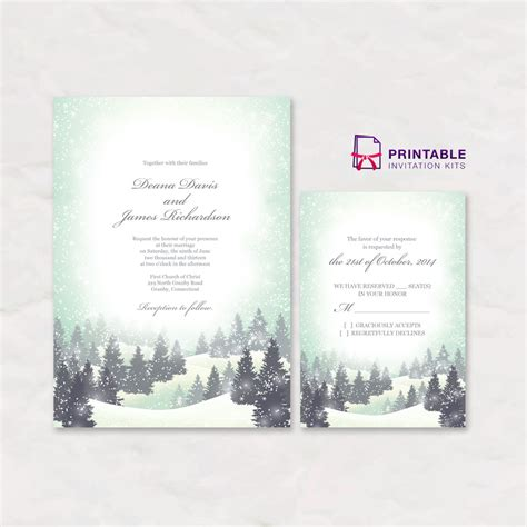 Winter Wonderland Wedding Invitation And Rsvp Templates Wedding Invitation Templates Winter Wedding Invitation Templates Free