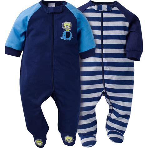gerber newborn boy s 2 pack sleeper pajamas safari striped