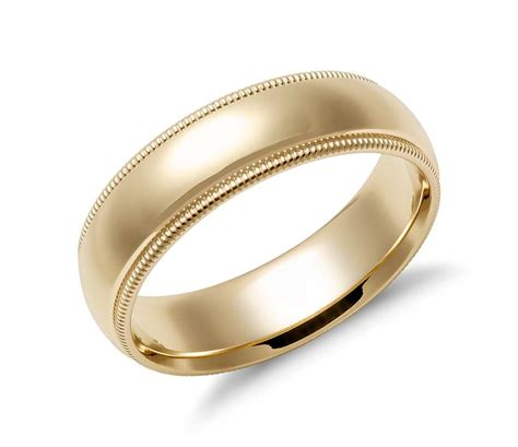Comfort Wedding Bands by Milgrain Comfort Fit Wedding Ring In 14k Yellow Gold 6mm