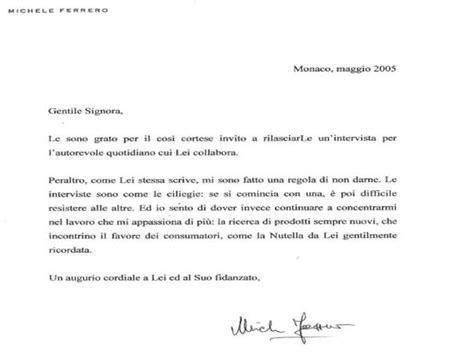 lettere ufficiali modelli la risposta cortese di michele ferrero alla richiesta