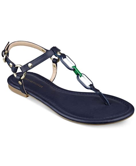 navy sandals flat hilfiger shelley flat sandals in blue lyst