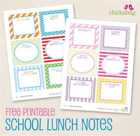 school lunch card template free printable school lunch notes chickabug